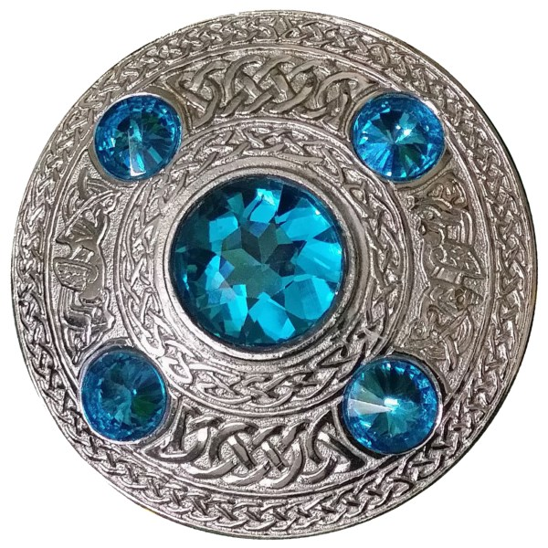 Scottish / Galician Sapphire Stone Celtic Brooch