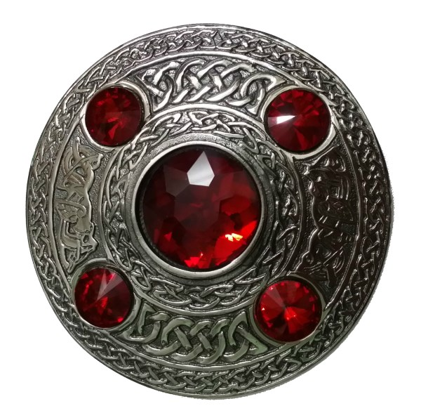 Welsh / Manx Ruby Stone Celtic Brooch