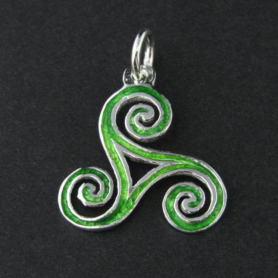 Gaelic Green Triskele Silver Necklace
