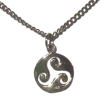 Triskele and Moon Silver Necklace
