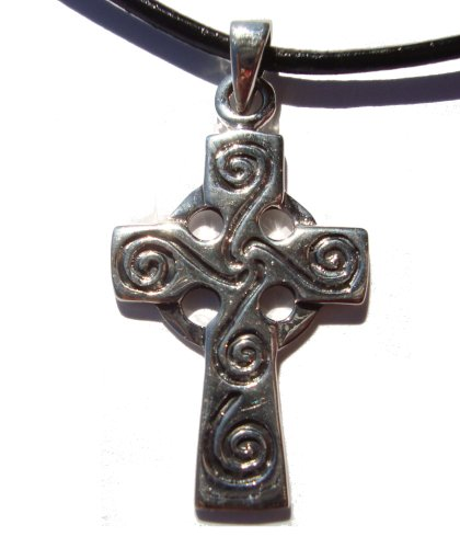 Silver Celtic Cross Necklace with Spirals