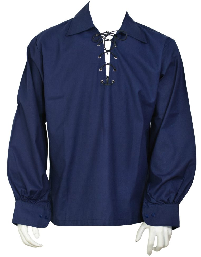 Navy Blue Ghillie Jacobite Highland Shirt