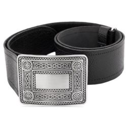 Black Leather Kilt Belt & Buckle