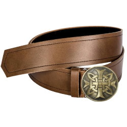 Brown Leather Kilt Belt & Buckle