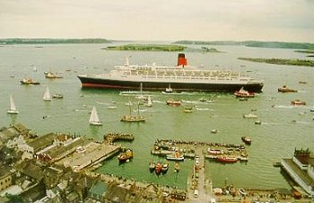 The Queen Elizabeth 2, which is the largest Cruise Liner in the world, is a regular visitor to Cobh. Photo (c) Bill Canavan - Cobh & Harbour Chamber