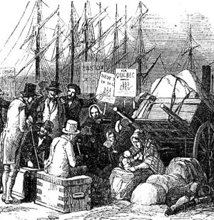 Irish Emigrants Arrival at Cobh. Illustrated London News, 10 May 1851