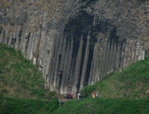 The Giant's Organ is a section of huge basalt rocks set into the hillside, so called as they resemble organ pipes. Photo © Ross