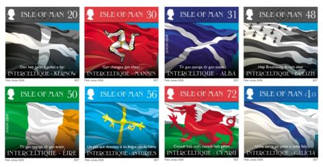 The eight stamps feature the National flags of Ireland, Scotland, Isle of Man, Wales, Cornwall, Brittany, Galicia and Asturies.