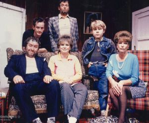 From left to right: Rab and Mary Nesbitt, their children Gash and Burney, and the Nesbitt's friends Jamesie and Ella Cotter - Picture by www.comedyunit.co.uk