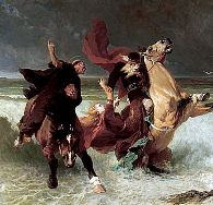La fuite du Roi Gradlon / The flight of King Gradlon, by Évariste-Vital Luminais, 1884 - Musée des Beaux-Arts, Quimper, Brittany